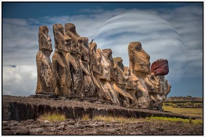 The Moai at Tongariki, Easter Island (Rapa Nui), with sphere.