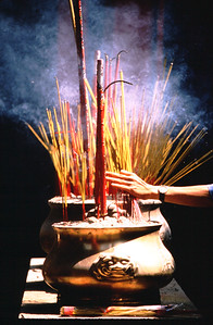 Incense in temple, Cholon, Saigon (Ho Chi Minh City) Vietnam.