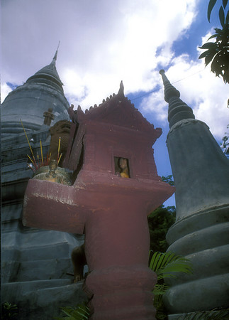 Stupas in park, Phnom Panh, Cambodia.