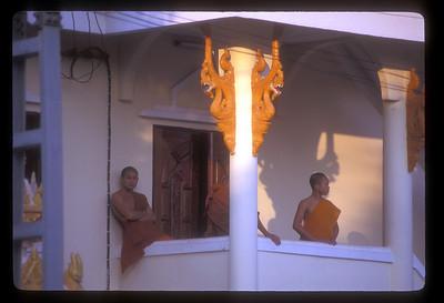 Monks at Laotian wat.