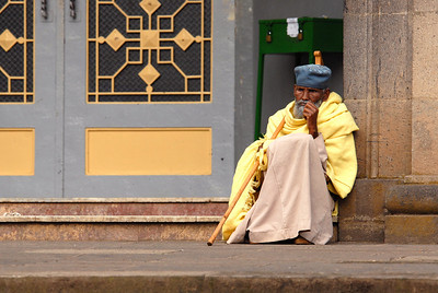 Worshipper at Trinity Ethiopian Orthodox Church, Addis Ababa, Ethiopia.