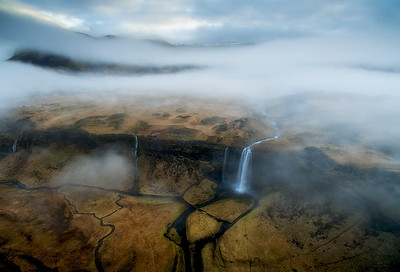 Flight High Above Seljalandfoss Waterfall