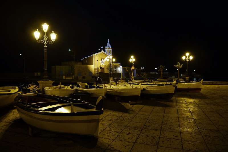 Late evening at the old harbour of Lipari, Italy