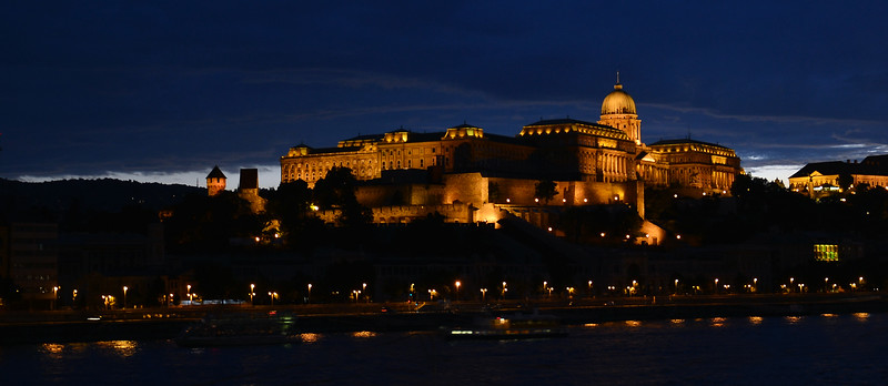 Evening falling over the Buda castle and Danube River in Budapest, Hungary