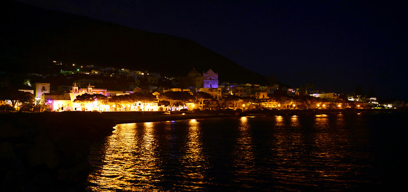 Waterfront of the village of Santa Marina on Salina island, Italy