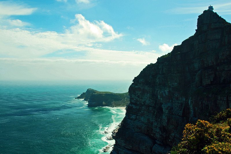 Lighthouse and coastal cliffs at Cape Point, South Africa