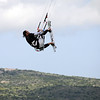 Kite surfer lift-off in Sardinia, Italy