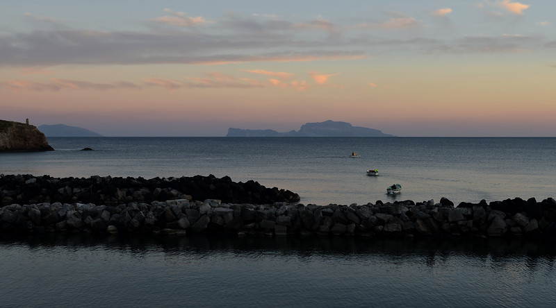 Sunset over Capri, viewed from island of Procida, Italy