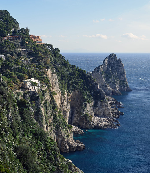 Steep cliffs along the south coast of the island of Capri, Italy