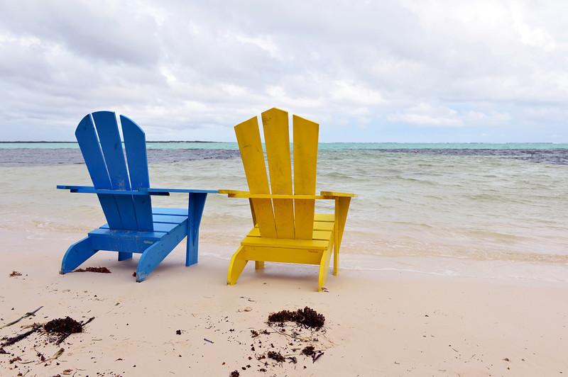 Lagoon-edge seating in Lac Bay, Bonaire