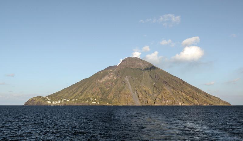 Classic shape of volcanic island : Stromboli in the Tyrrhenian Sea, Italy