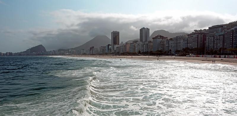 Heavy surf at Copacabana beach in Rio de Janeiro, Brazil