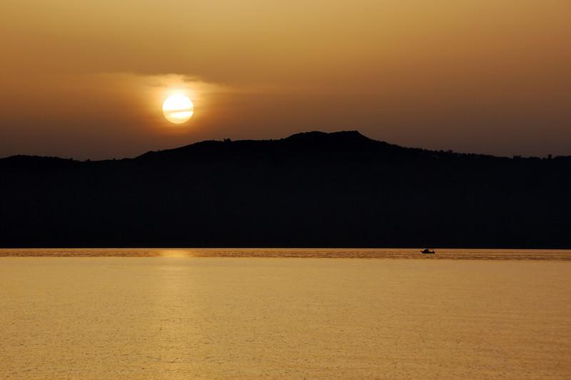 Sunset over Souda bay on Crete, Greece