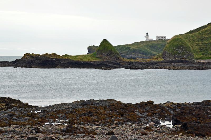 Indented tidal coast near the Todhead lighthouse, east Scotland