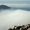Sea fog around the Revellata lighthouse in north Corsica, France