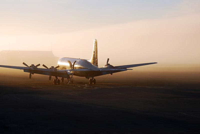 Midnight sun on vintage DC-6, Alaska North Slope (70º North)