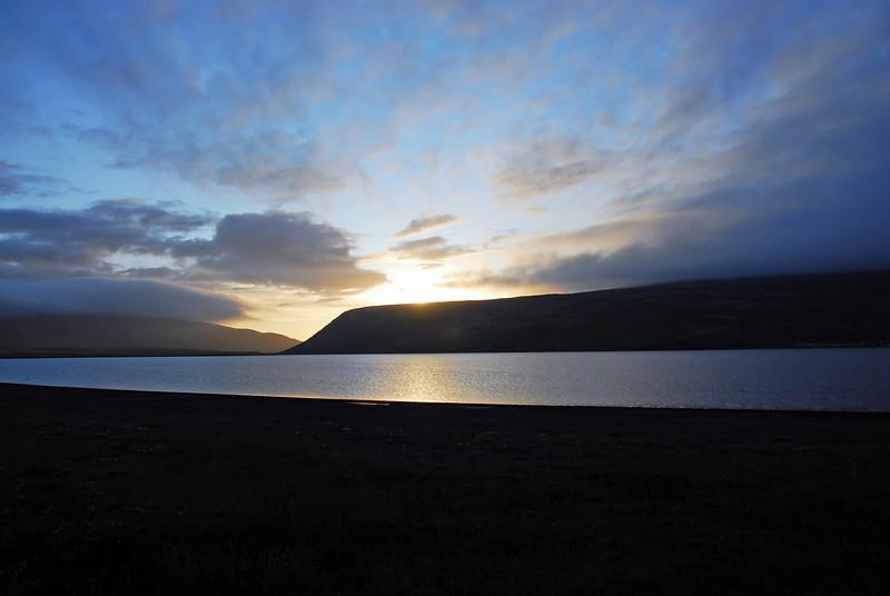 Midnight sun over Stiflisdalvatn, Iceland