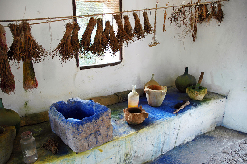 Dye room in old farm on the island of Mallorca, Spain