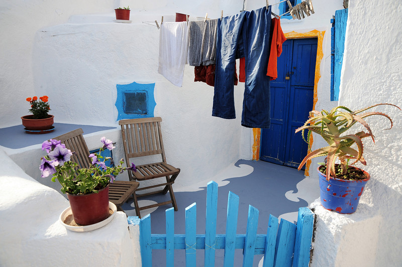 Entrance to dwelling in Santorini, Greece
