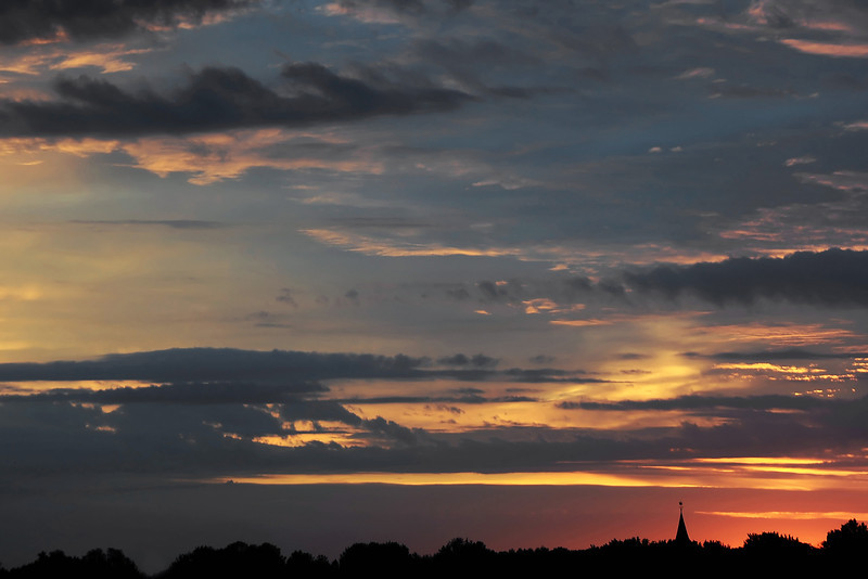 Dawn over the village of Warmond, The Netherlands