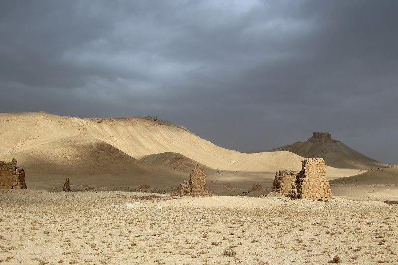 Derelict burial towers near Palmyra, Syria