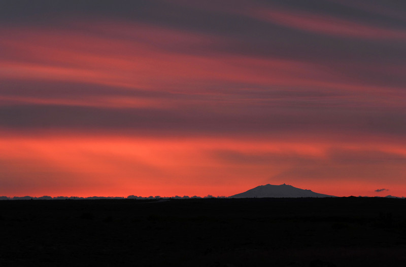 Fiery summer evening over the Snaefellsnes volcano in southwest Iceland