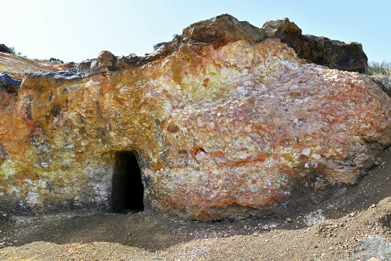 Abandoned shallow gold mine in hydrothermally altered Troodos pillow lavas, at Kokkinovounaros in central Cyprus