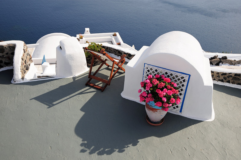 Villa roof in Oia on Santorini, Greece