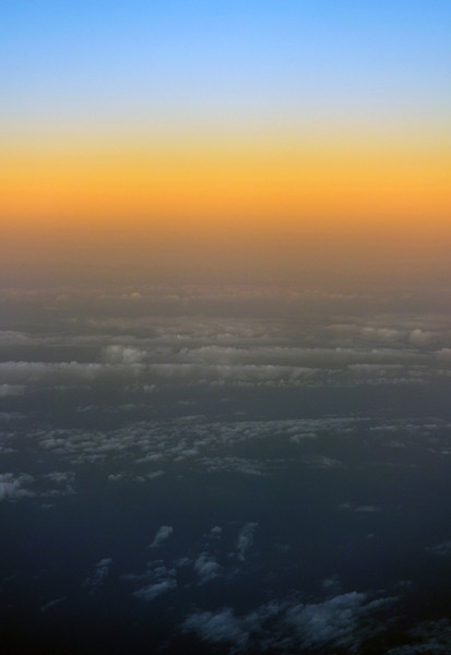 Spectral sunset colors over northern Iran