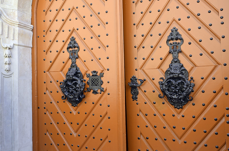 Ornate entrance doors, castle district of Budapest, Hungary