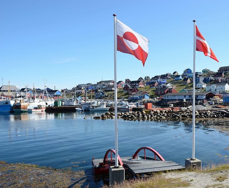 Village and fishing harbour of Aasiaat, west Greenland