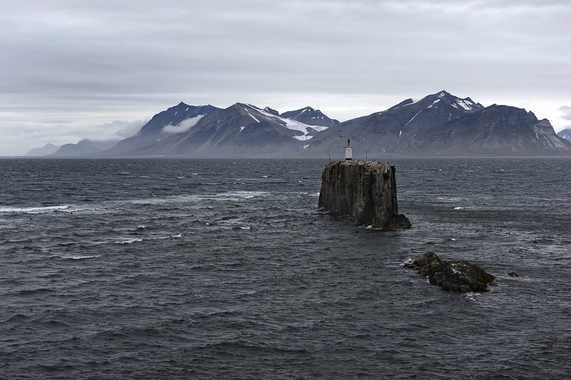 Festningen lighthouse at the entrance to Isfjorden, west Svalbard, Norway