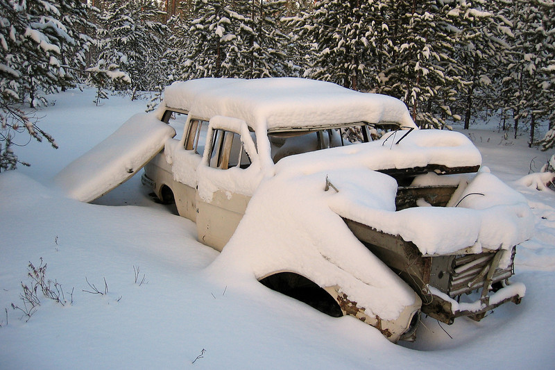 Disintegrating vehicle in West Siberian forest, Russia