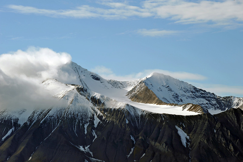 Hanging glacier on Berzeliustinden mountain (1210 m), Svalbard