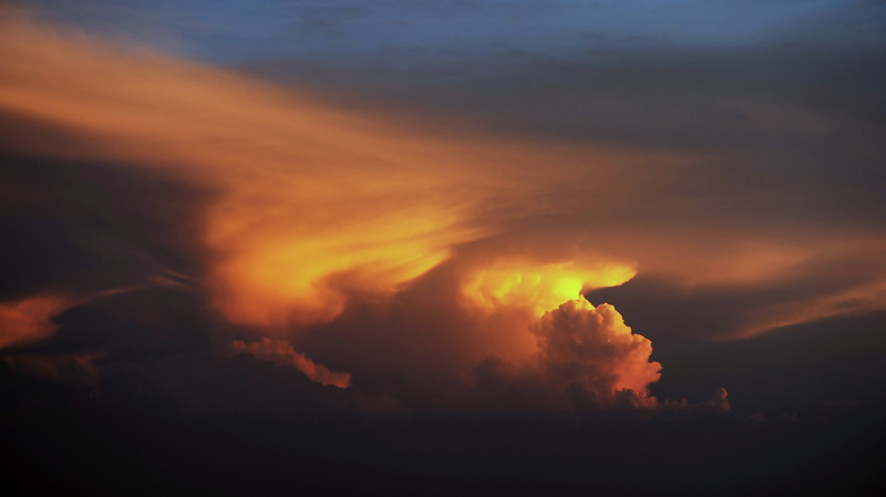 Sunset thunderstorm over the Caribbean near Curaçao