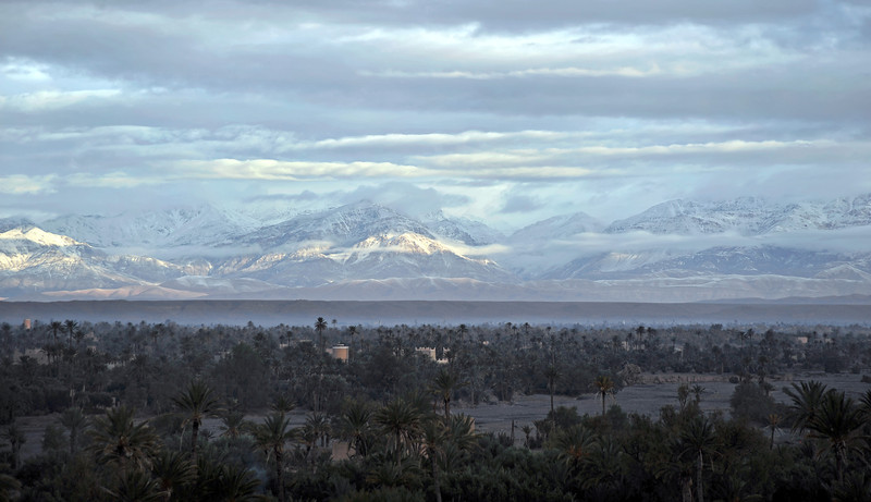 Early morning view on the snow-capped High Atlas mountains from Skoura, Morocco