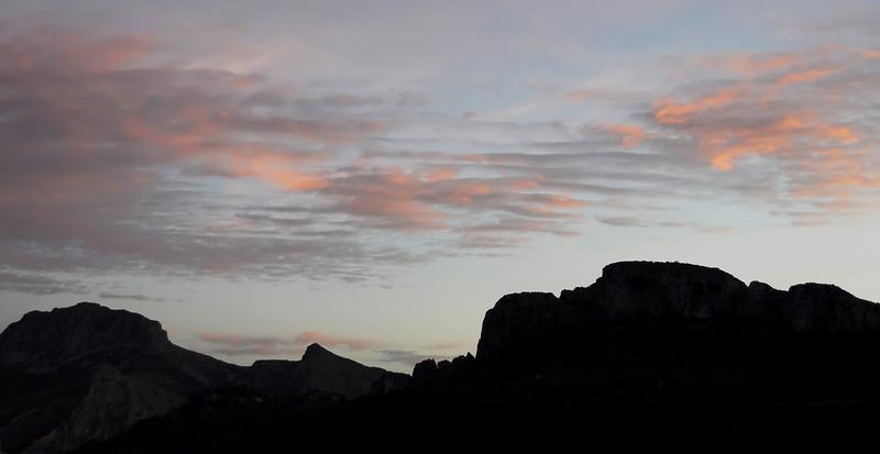 Dusk over the Sierra de Bernia, southeast Spain