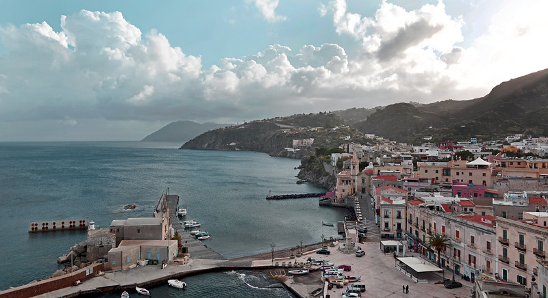 Overlook of Lipari harbour, Italy