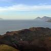 Vulcano island's old caldera, with the islands of Lipari, Salina, Filicudi and Alicudi in the background