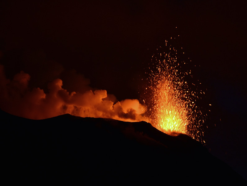 Lava fountain from minor vent at the summit of the Stromboli volcano, Italy