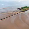 Low tide at Cramond island in the Firth of Forth, Scotland (UK)