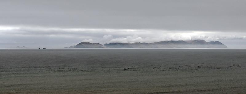 Island of San Lorenzo and large flocks of migrating seabirds, offshore Peru