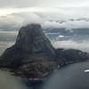 Precambrian metamorphic rocks forming steep mountain (1170 m) on the small island of Uummannaq, west Greenland