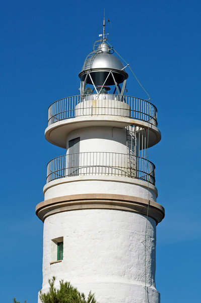 Detail of lighthouse at Cap Gros on the island of Mallorca, Spain