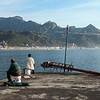 Early morning sea anglers near Taormina, Sicily