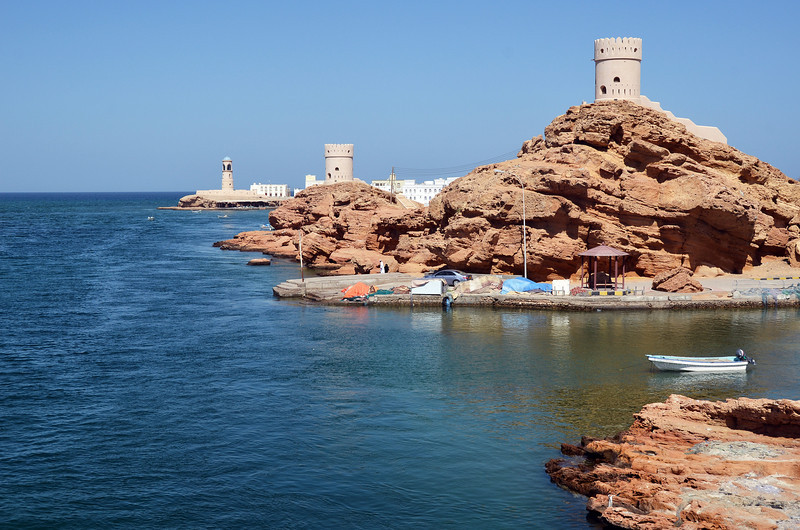 Watchtowers at lagoon entrance in Sur, eastern Oman