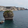 New lighthouse on the limestone cliffs south of Bonifacio on the island of Corsica, France