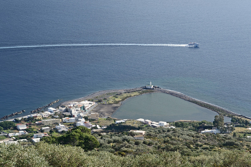 Village and lagoon of Lingua on Salina, Eolian Islands, Italy
