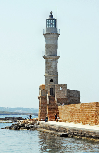 Lighthouse at the entrance to Chania harbour on Crete, Greece