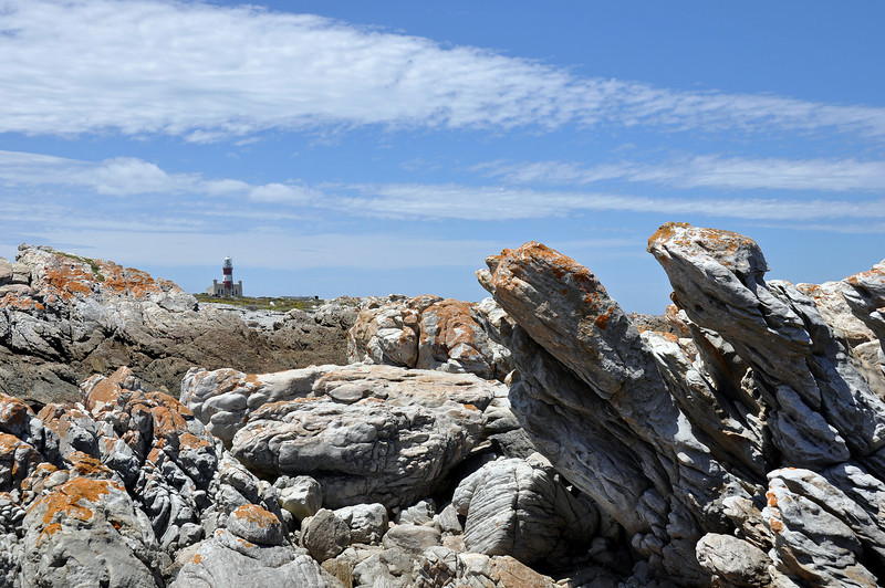 Cape Agulhas coastal cliffs and lighthouse, South  Africa